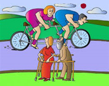 couple riding tandem cartoon
