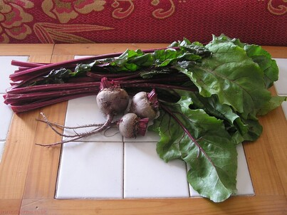 Beetroot, leaves and stalks soup